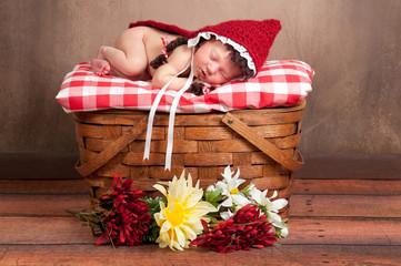 Newborn Baby Girl Wearing a Little Red Riding Hood Costume