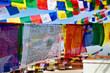 close up of prayer flags in Kathmandu, Nepal