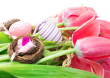 easter composition with tulips and decorative eggs