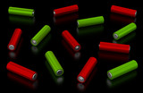 Batteries on black background
