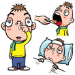 Vector illustration of sick boy cartoon