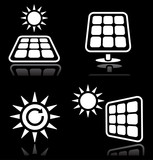 Solar panels, solar energy white icons set on black