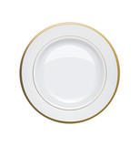 White plate with gold rims on white background. Vector illustrat - 62399696