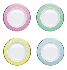 Colorful plate with gold rims on white background. Vector illust