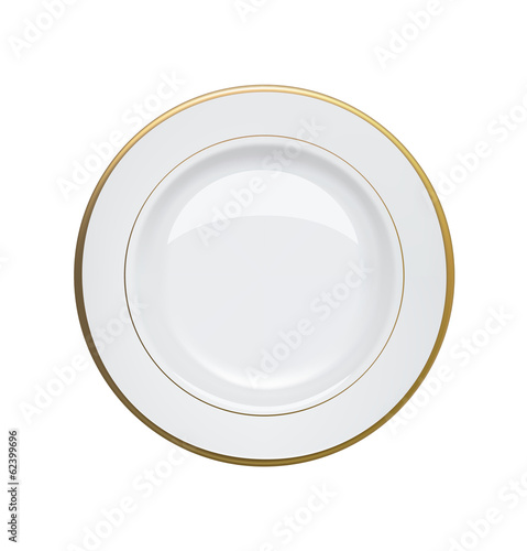 White plate with gold rims on white background. Vector illustrat
