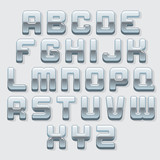 Chrome Metallic Font. Vector Set
