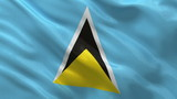 Flag of Saint Lucia waving in the wind - seamless loop