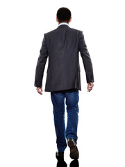 business man walking rear view silhouette