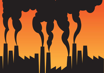 Air pollution of factories with chimneys