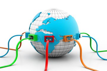 Network cables connected the globe