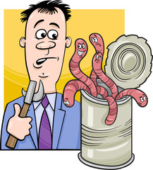 open can of worms saying cartoon