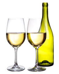 White wine on isolated background
