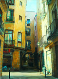 ancient gothic quarter of barcelona, painting, illustration