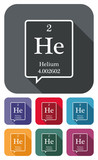 Helium symbol from periodic table on colored flat icons