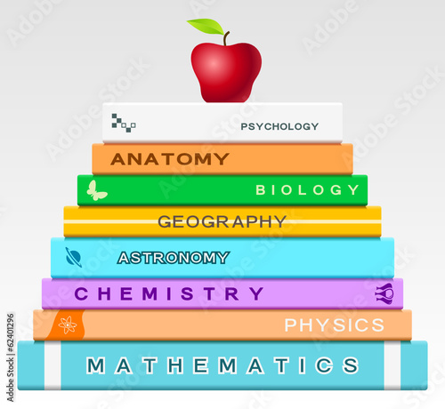 Education concept with books and apple