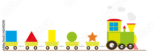 Basic shapes train for children - vectors