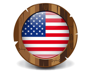 U.S.A. wood button
