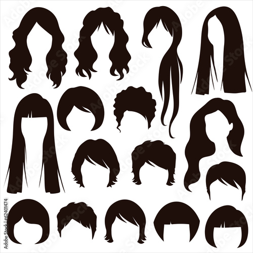 hair silhouettes, woman hairstyle