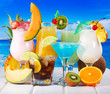 tropical cocktails with fresh fruits - 62401666