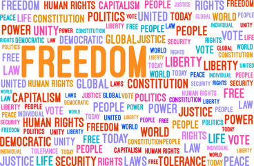 Freedom Word Cloud Concept Vector Illustration