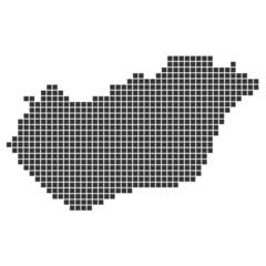 Pixelkarte schwarz - Ungarn