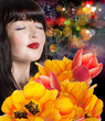 Beauty Woman brunette with Spring Flower bouquet tulips