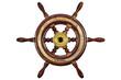 Leinwanddruck Bild - Vintage ship steering wheel rudder isolated on white