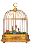 Vintage birdcage with fake little birds isolated on white