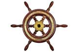 Vintage ship steering wheel rudder isolated on white