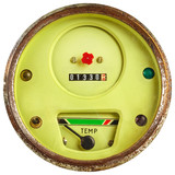 Vintage green temperature meter isolated on white