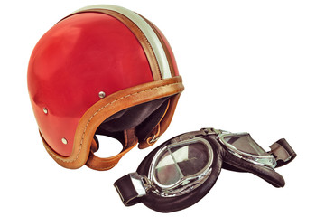 Retro styled image of an old motor helmet with goggles