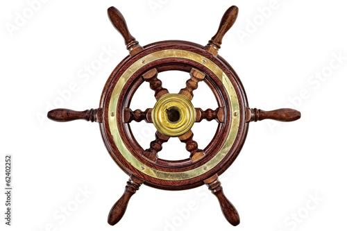 Leinwanddruck Bild Vintage ship steering wheel rudder isolated on white