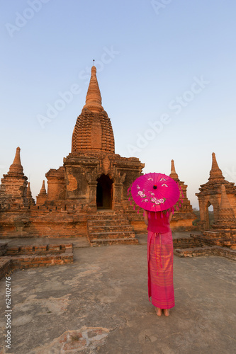 Beautifully burmese dressed lady in front of temple, Bagan