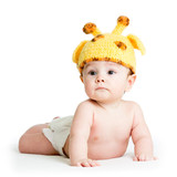 infant baby boy weared girraffe hat