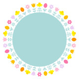 Easter Meadow Flower & Eggs Frame Retro