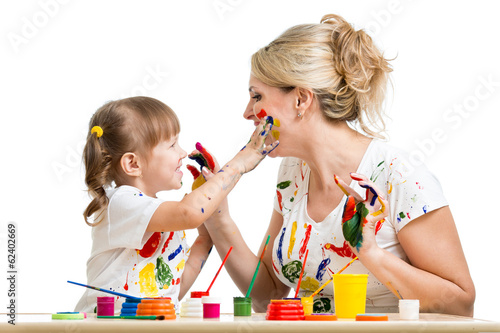 Mother with daughter paint together