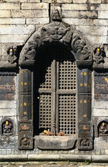 Ornated entrance in a temple. Pashupatinath, Nepal