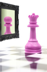 Queen looking in the mirror seeing pawn in reflection