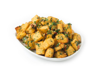 Spicy potato cut in cubes and fried, lebanese cuisine