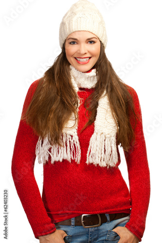 Happy smiling woman in warm clothes