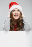 Isolated Christmas woman portrait with white card