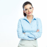 Portrait of confident business woman white background isolated.