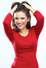 Smiling woman hair beauty portrait. Beautiful smiling girl isol