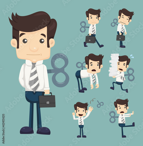 Set of businessman with wind-up key