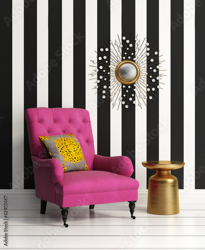 Fresh style, romantic striped wall interior with pink couch