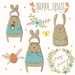 Easter concept set in vector. Bright holiday elements