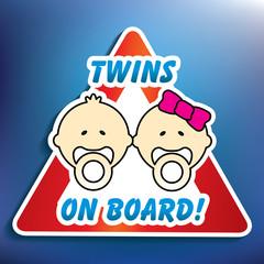 Twins on board sticker