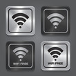 Wireless Network Symbol. Metal app icon.