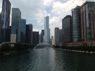 Chicago River, cloudy.
