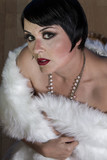 30s beautiful sexy brunette woman dressed in 20s style, hairstyl poster